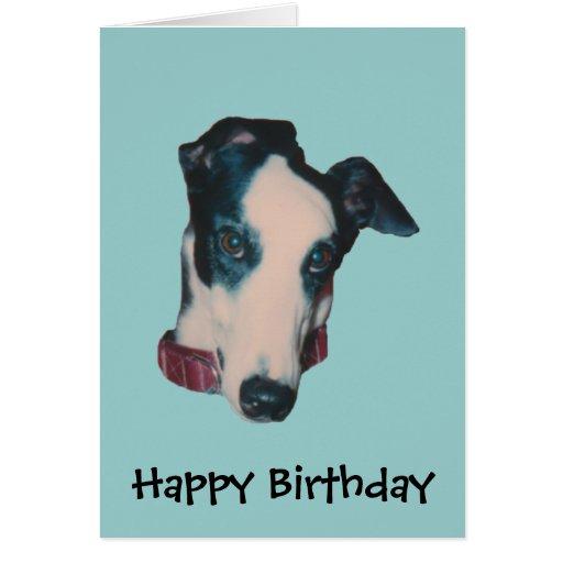 Greyhound Face Dog Birthday Card