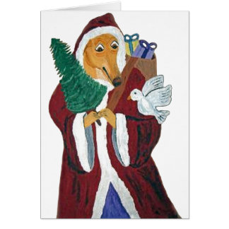 Greyhound Father Christmas Card