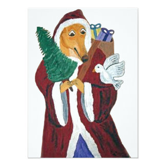 Greyhound Father Christmas Custom Announcements