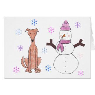 Greyhound Fawn & Snowman Greeting Card