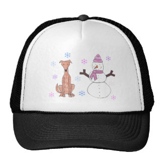Greyhound Fawn & Snowman Mesh Hats