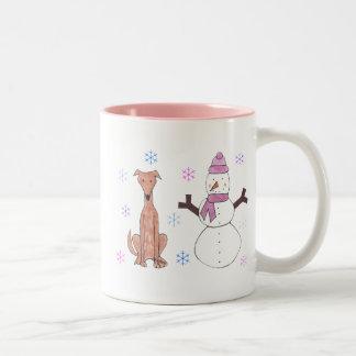 Greyhound Fawn & Snowman Mug