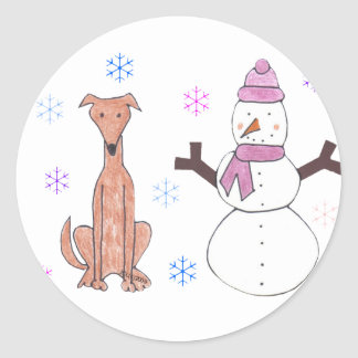 Greyhound Fawn & Snowman Round Stickers