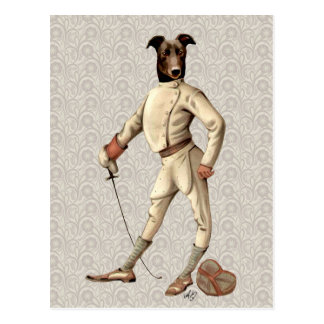 Greyhound Fencer in Cream Full 2 Postcard