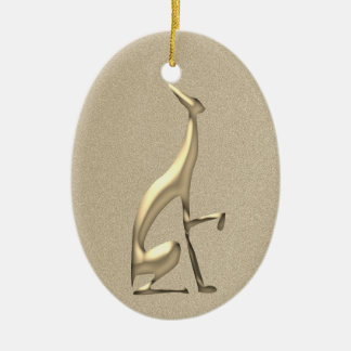 Greyhound Golden Classy Elegant Simple Beautiful Christmas Ornament