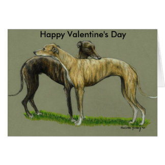 """Greyhound Hug"" Happy Valentine's Day Card"