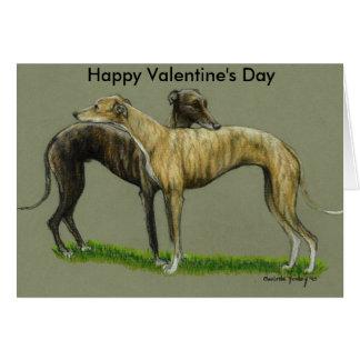 """Greyhound Hug"" Happy Valentine's Day Card"