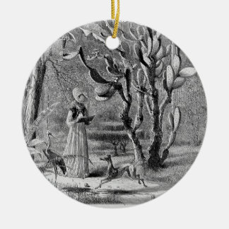 Greyhound in garden 1872- picturesque america christmas ornament