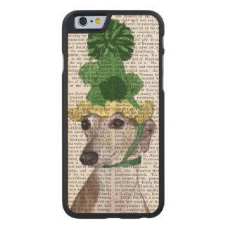 Greyhound in Green Knitted Hat 2 Carved® Maple iPhone 6 Slim Case