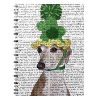 Greyhound in Green Knitted Hat 2 Spiral Note Books