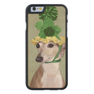 Greyhound in Green Knitted Hat Carved® Maple iPhone 6 Case