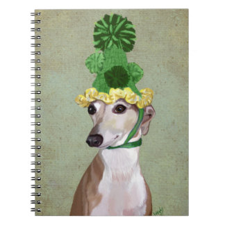 Greyhound in Green Knitted Hat Notebook