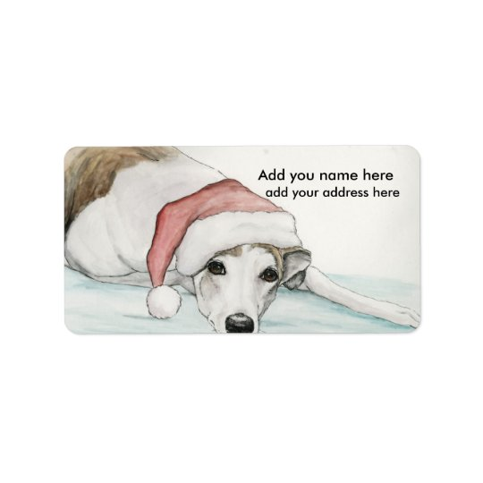 Greyhound in Santa Hat Address Labels