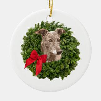 Greyhound in Xmas Wreath Christmas Ornament