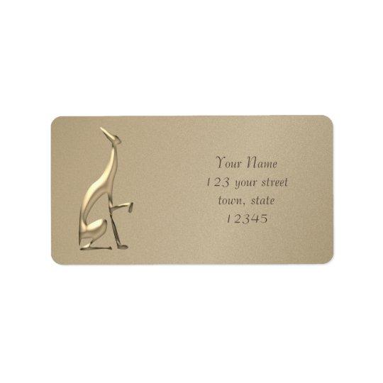 Greyhound Italian Golden Emboss Elegant Silhouette Label