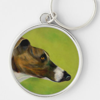 Greyhound key ring (a297) Silver-Colored round key ring