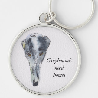 Greyhound key ring (a298) Silver-Colored round key ring