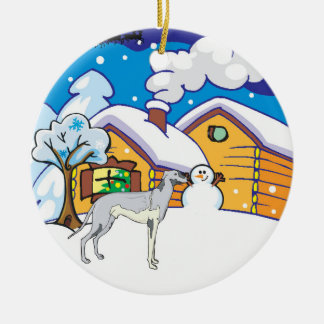 Greyhound Log Cabin Christmas Tree Ornament