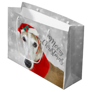 Greyhound Merry Christmas Large Gift Bag