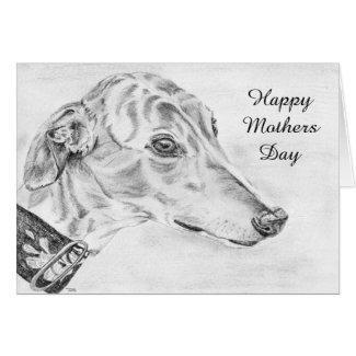 Greyhound Mothers Day card (a445) title=