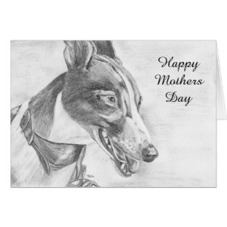 Greyhound Mothers Day card (a447) title=