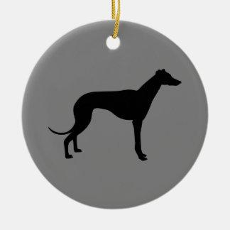 Greyhound on Gray Christmas Ornament