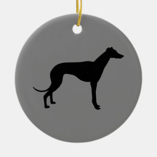 Greyhound on Gray Round Ceramic Decoration