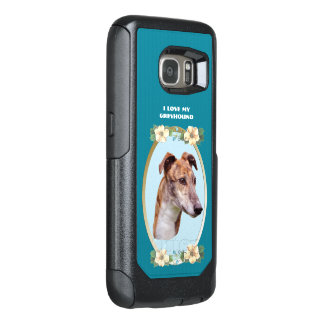Greyhound on Teal Floral OtterBox Samsung Galaxy S7 Case