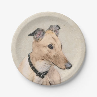 Greyhound Painting - Cute Original Dog Art Paper Plate