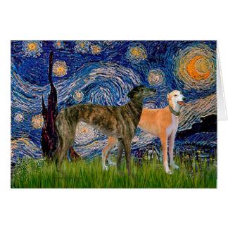 Greyhound Pair - Starry Night Card