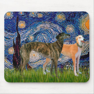 Greyhound Pair - Starry Night Mouse Mat