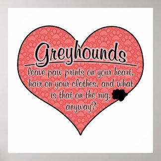 Greyhound Paw Prints Dog Humor Poster