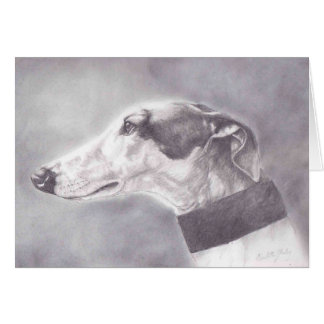 Greyhound Pencil Portrait Dog Art Greeting Card