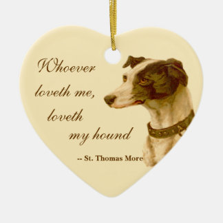 Greyhound Portrait / Famous St. Thomas More Quote Christmas Ornament