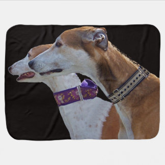 Greyhound Portrait Fleece baby blanket. Receiving Blanket