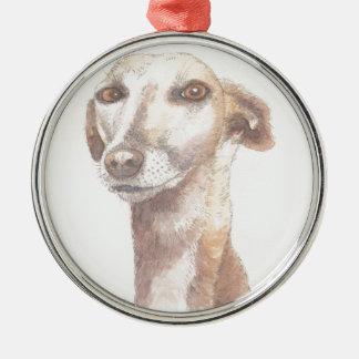 Greyhound portrait Silver-Colored round decoration