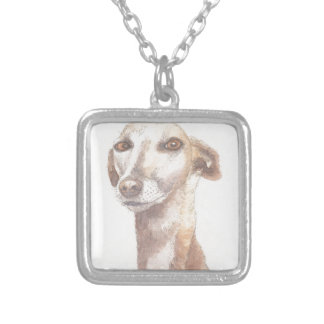 Greyhound portrait silver plated necklace