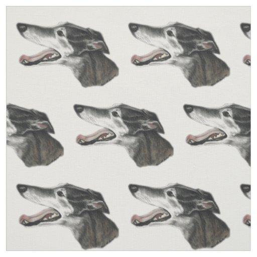 Greyhound Profile Dog Art Fabric