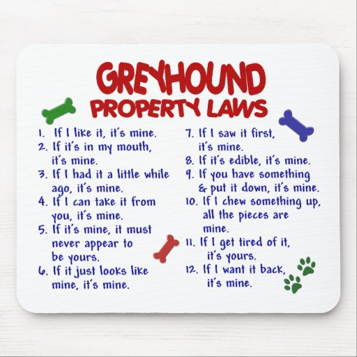 GREYHOUND Property Laws 2 Mouse Mats