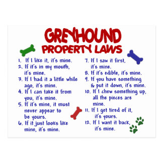 GREYHOUND Property Laws 2 Postcards