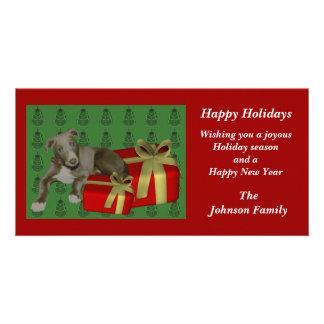 Greyhound Puppy Animal Christmas Holiday Card Photo Card Template