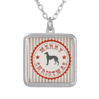 Greyhound Racer Merry Christmas Retro Emblem Square Pendant Necklace