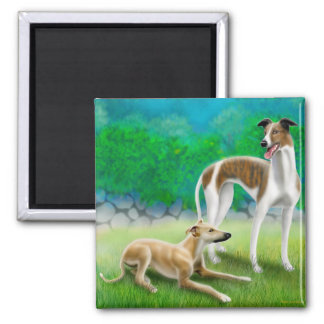 Greyhound Racing Dogs Square Magnet