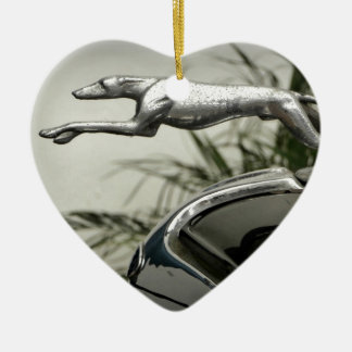 Greyhound Radiator Cap Ceramic Heart Decoration