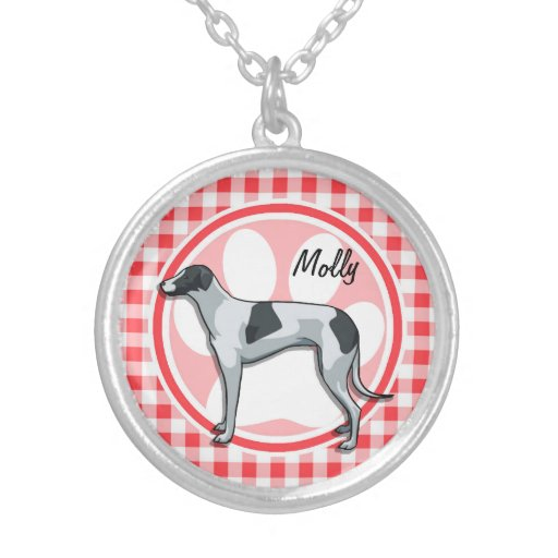 Greyhound; Red and White Gingham Necklace