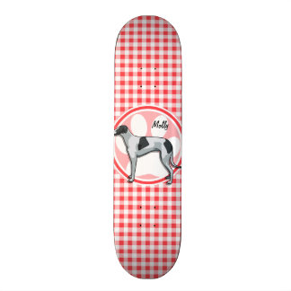 Greyhound; Red and White Gingham 21.6 Cm Skateboard Deck