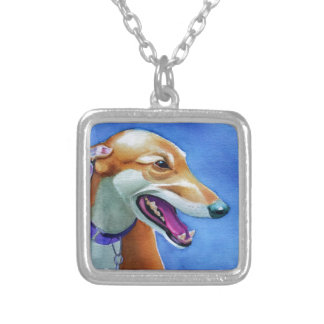 Greyhound Rescue Square Pendant Necklace