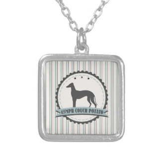Greyhound Retired Racer 45mph Lazy Dog Square Pendant Necklace