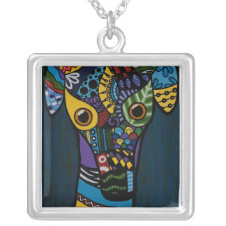 Greyhound - Retired Racing Rescue Square Pendant Necklace