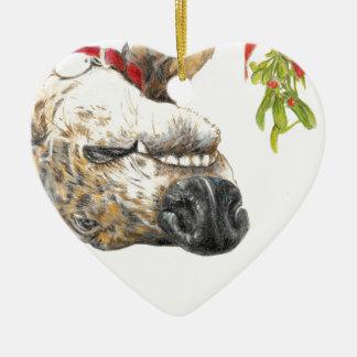 Greyhound roaching under the mistletoe christmas ornament